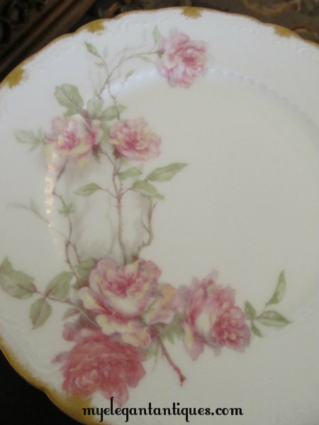 Haviland Limoges Climbing Rose Pattern Plates From